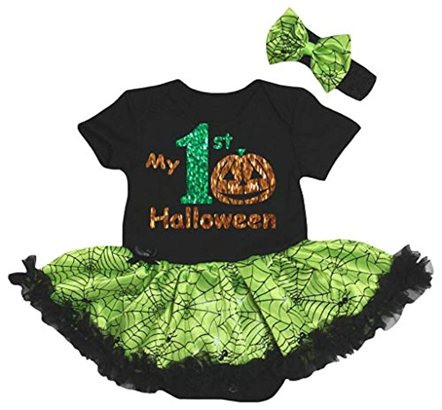 従者貫通する衰える[キッズコーナー] ハロウィン My 1st Halloween ブラック グリーン コブウェブ 子供ボディスーツ、子供のチュチュ、ベビー服、女の子のワンピースドレス Nb-18m (ブラック, Small) [並行輸入品]