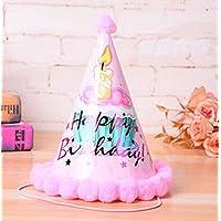 HuaQingPiJu-JP 第1回誕生日パーティー用品ケーキパターンコーン帽子リトルソフトボールCap_Pink