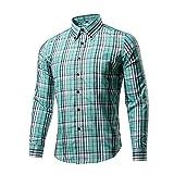 Tzou 16色 メンズ ボタンダウン チェック柄 シャツ ワイシャツ 半袖 シャツ チェックシャツ カジュアル 格子柄 大きいサイズ ブロード100% おしゃれ インナーシャツ トップス 形態安定 スリム 紳士服 ビジネス Tシャツ Mグリーン