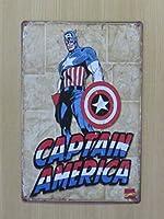 キャプテンアメリカ 金属製 メタルサインプレート TB CAPTAIN AMERICA マーベルコミック アメコミ ヒーロー 看板 ブリキ アンティーク ガレージ インテリア 広告 カフェ 店舗備品