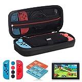 ANGPOR[Nintendo Switch ケース 任天堂スイッチアクセサリーキット] EVAセミハード 旅行スイッチケース/Joy-Conシリコンカバー/液晶保護フィルム2枚/スイッチソフトカードケース2個