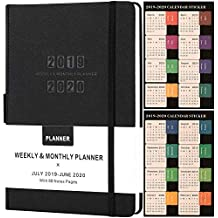 Planner 2018 with Pen Holder -Academic Weekly Monthly and Yearly Planner. Thick Paper to Achieve Your Goals & Improve Productivity 5.75 x 8.25 Inner Pocket with 58 Bonus Notes Pages - lemome