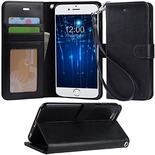 「Arae」iphone6s plus ケース 手帳型 iphone 6s plus ケースRoHS規格認定書取得 iphone6 plus ケース スタンド機能付き iphone 6 plus ケース マグネット内蔵 耐衝撃 (iPhone6s Plus, ブラック)