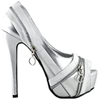Show Story Punk Silver/Black Zip Peeptoe Platform High Heel Stiletto Pump,LF80836
