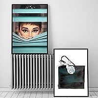 家の装飾壁アートポスターキャンバス絵画セクシーな女性オードリーヘップバーンとバッグHDノルディックスタイルベッドルーム-40x60cmx2 /フレームなし