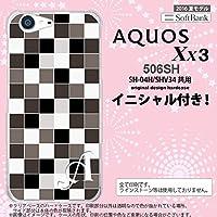 506SH スマホケース AQUOS Xx3 ケース アクオス Xx3 イニシャル スクエア グレー nk-506sh-1016ini O