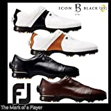 (フットジョイ) Footjoy FJアイコン ブラック ボア ソフトスパイク ゴルフシューズ 25.5cm 52049(WH×BK)/W