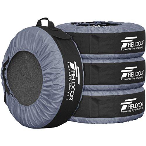 FIELDOOR タイヤバッグ タイヤトート タイヤカバー 4枚セット/フェルトパッド1枚付き グレー (22-30インチタイヤ対応)
