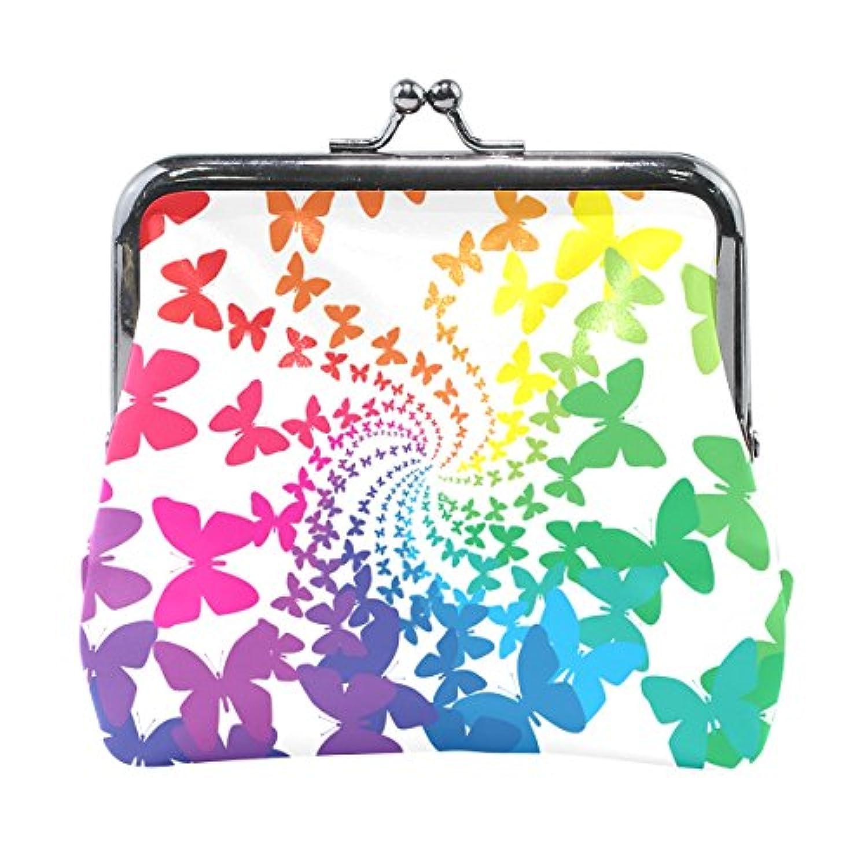 AOMOKI 財布 小銭入れ ガマ口 コインケース レザー 蝶柄 カラフル 虹色