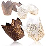 Tulip Cupcake Liners,100 pieces Cupcake Paper Muffin Cups with Gold Print for Baking, Perfect for Festive Occasion(Packaging