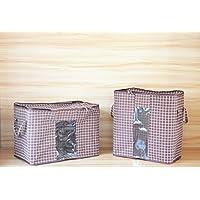 簡単図柄コットンリネン素材衣類綿収納袋厚さアップ 透明保存袋整理箱 (縦タイプ, ブラウン四角)