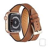 Bestig バンド Apple Watch 38mm 40mm 42mm 44mm 本革 ダブルツアーデザイン スリム 交換用 iWatchストラップ iWatch Series 4/3/2/1用 38mm 40mm