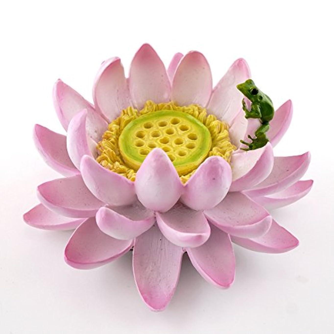 処方するやりがいのある指定するTopコレクションLotus Flower with Frog Incense、キャンドルホルダー、4.25インチ、ピンク