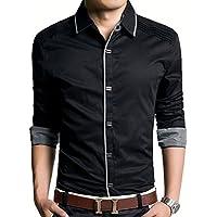 (アザブロ) AZBRO メンズ 長袖ワイシャツ 綿高率 ゴージャス 純色 長袖 ボタンアップ シャツ豊富な5サイズ