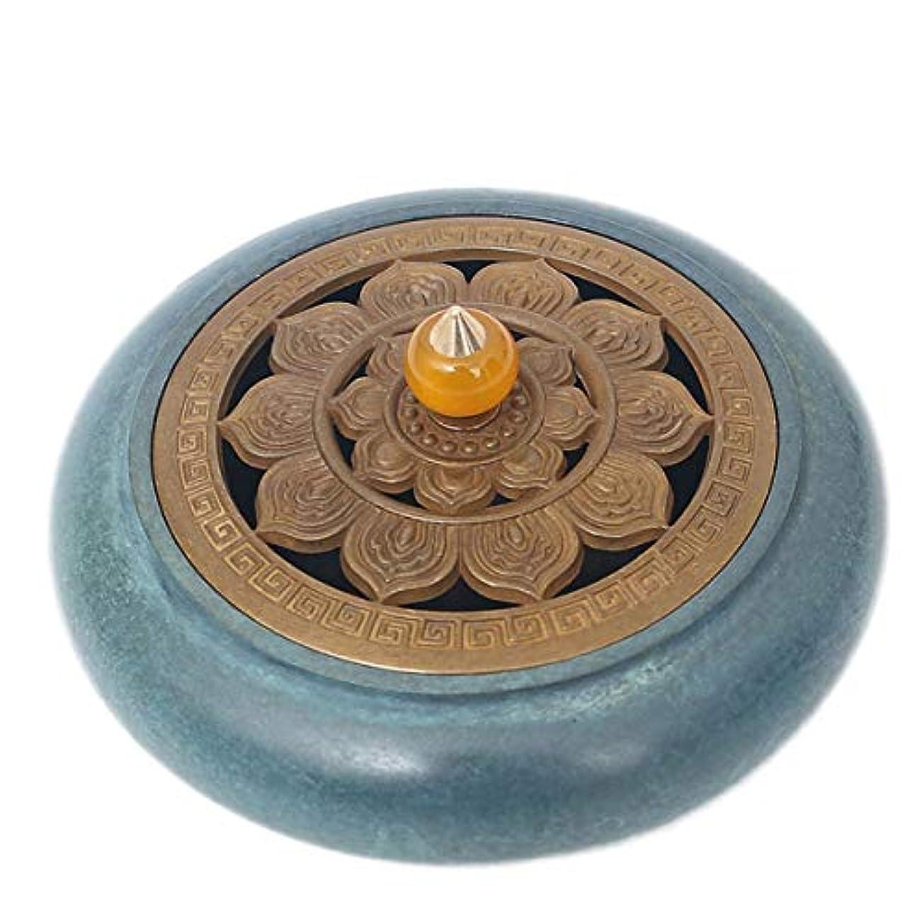 どこにも羊の不透明なコーン香バーナーと真鍮香スティックホルダー-中国銅装飾炭香炉-銅香灰キャッチャートレイボウル