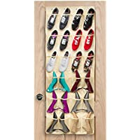 Halter Over the Door Hanging Shoe Organiser with 24 Pockets - Beige Polyester with Clear Nylon Pockets - 140cm X 50cm