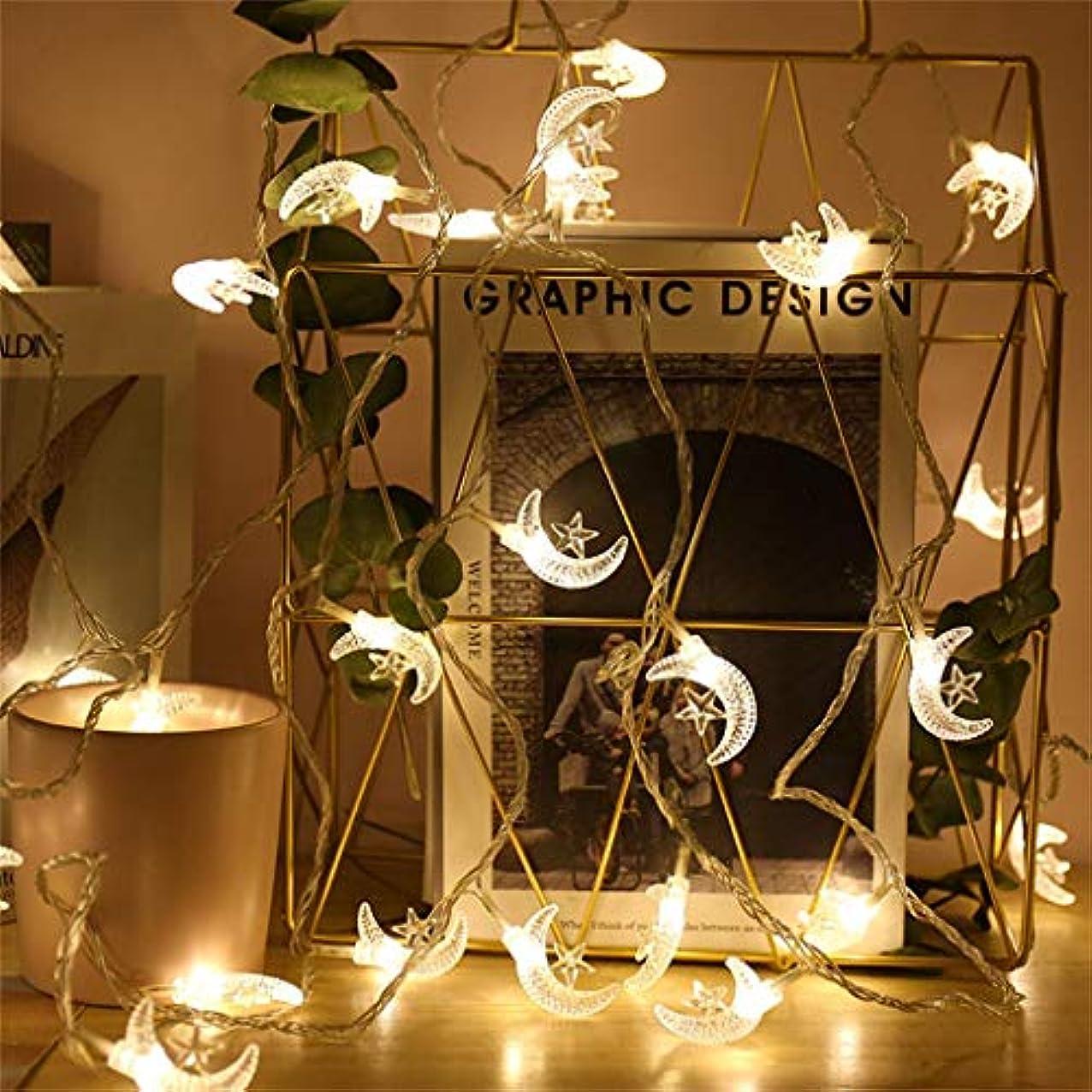 ハッピー投げる後ライトストリングデコレーション 光の弦 10/20/30/40LEDハンギングツリーランタンホリデーライトの装飾照明を導きました(葉っぱ 月 オイルランプ バラのつる) 単三電池 暖かい白 フェアリーライト 祭りのために クリスマス ハロウィン 祝日の光 寝室 (ムーン40)