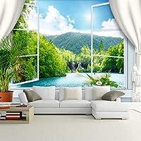Xbwy 3D壁画壁紙リビングルームのテレビソファ背景中国風の山と川の壁紙の美しい風景-280X200Cm