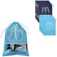 Hepatton 10ピーストラベルシューズバッグ、撥水防塵スペース節約靴バッグ靴収納袋,ハイヒールドローストリング(ネイビー, 5M+5L)