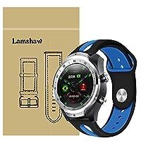 Lamshaw Ticwatch Pro バンド, スポーツ シリコン 交換バンド 柔らか運動型 対応 Ticwatch Pro スマートウォッチ 腕時計 (ブラック*ブルー)