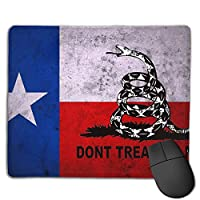 Cheng xiao Mouse Pad Don't Tread On Me Flag Rectangle Rubber Mousepad Non-toxic Print Gaming Mouse Pad with Black Lock Edge,9.8 * 11.8 in,ベーシック マウスパッド ゲーム用 標準サイズ