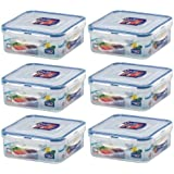 Lock & Lock, Water Tight Lid, Food Container with Divider Cups, HPL823C, 3.6-cup, 29-oz, Pack of 6
