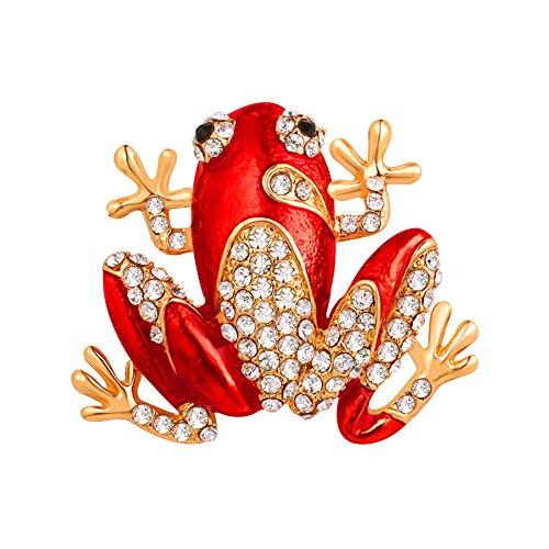 [해외]U7 개구리 브로치 여성 액세서리 파티 보석 라인 스톤 레드 [B2724]/U7 frog brooch ladies accessories party jewelry rhinestone red [B2724]