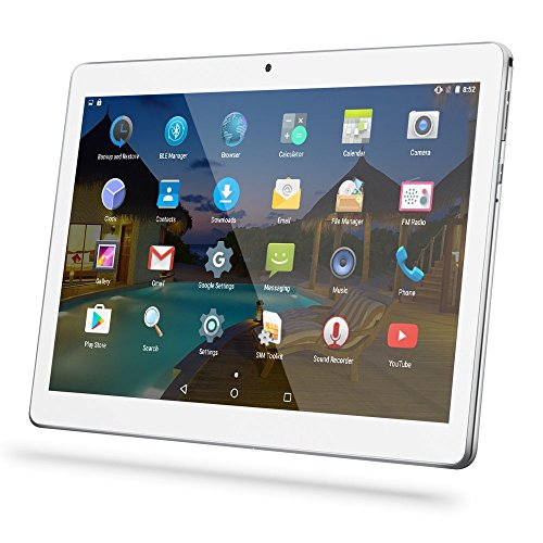 YUNTAB(JP) 10.1 インチ タブレットPC Android 5.1 デュアルSIMカード 電話機能付き Quad-Core IPS液晶 タッチスクリーン 通話pad bluetooth 4.0搭載 日本語対応(銀色)