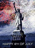 7月4日グリーティングカード–Lady Liberty–jf1502。ビジネスのイメージを持つグリーティングカード自由の女神。ボックスセットが25グリーティングカード、26レッド色付き封筒。