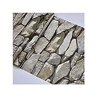 防水ヴィンテージ3Dストーン影響壁紙ロール現代のリアルなテクスチャビニールポリ塩化ビニールの壁紙インテリア・Wp54004スレートグレー、10Mx53Cm