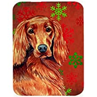 Carolines Treasures LH9344LCB Irish Setter Red And Green Snowflakes Christmas Glass Cutting Board - Large