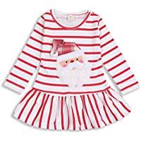 HappyMA Toddler Kids Baby Girls Santa Claus Print Dress Long Sleeve Striped Skirt One-Piece Clothes Set