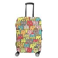 ZHIMI スーツケースカバー 伸縮素材 ラゲッジカバー 盗難防止 おしゃれ キャリーバッグカバー 荷物保護 防塵 通気性抜群 可愛いネコ柄 ポリエステル 国内 海外旅行 便利 洗える 着脱簡単 1枚入り