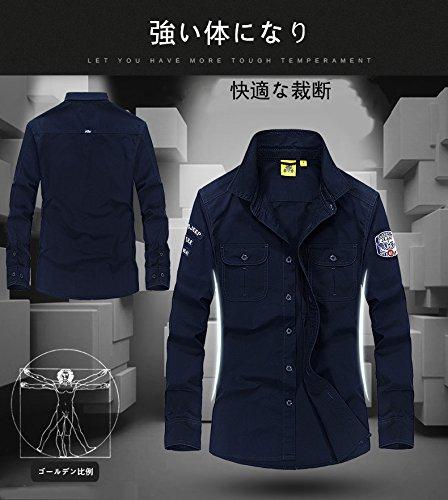 FEIDA 選べるボタン カラー ノーマル ボタン オックスシャツ 長袖 メンズ ワイシャツ カジュアル 全3色 M-3XL (M, オリーブ)