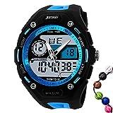 TTLIFE メンズ 腕時計 アナログデジタル マルチファンクション LEDクォーツ時計 防水 電子 スポーツ 腕時計 目覚まし時計 カレンダー ブルー