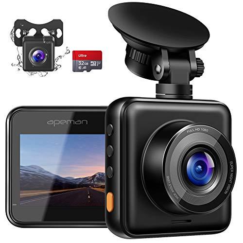 【2019最新版】APEMAN ドライブレコーダー 前後カメラ 1080PフルHD 高画質 駐車監視 夜間対応 Gセンサー ループ録画 高速起動 32GBmiroSDカード付き 超小型 ドラレコ 2年保証