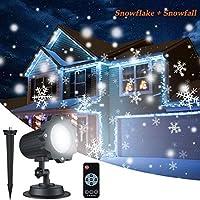 投影ランプ LEDプロジェクションライト クリスマス飾りライト イルミネーションライト ステージライト クリスマスバージョン LED投光器 ロマンチック 16枚投影フィルム UL認定 雰囲気作りライト スポットライト 室内 屋外 おしゃれ かわいい リモコン付き