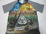 迫力大!!新甲虫王者ムシキング Tシャツ 半袖Tシャツ120cmグレー