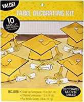 "School Colors Graduation Party Mortarboards and Diplomas Table Decorating Kit, Yellow and White, Paper, 15"", Pack of 11 [並行輸入品]"