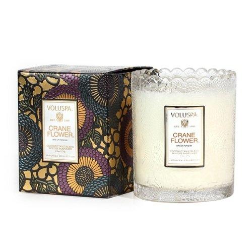 Voluspa ボルスパ ジャポニカ スカラップグラスキャンドル クレーンフラワー JAPONICA Glass Candle CRANE ...