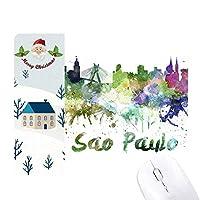 サンパウロ市のポーラブラジル水彩画 サンタクロース家屋ゴムのマウスパッド