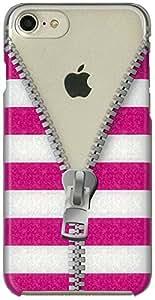 MRlab iPhone8 iPhone7 ケース ファスナー ピンク 白 ボーダー ハード 809