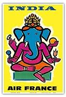 インド - エアフランス - ヒンドゥー教の主ガネーシャ - ビンテージな航空会社のポスター によって作成された ジャン・カルリュ c.1959 - アートポスター - 33cm x 48cm