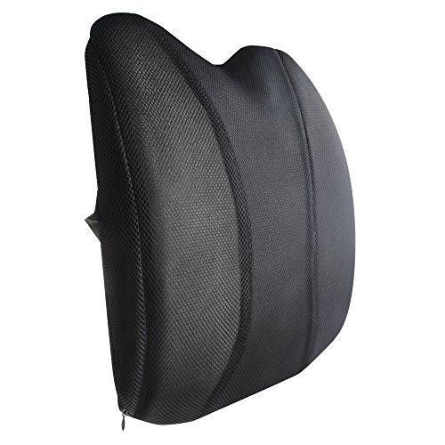 COOFINE ランバーサポート アーチ型 低反発クッション 背もたれクッション 骨盤サポート 腰まくら 腰痛対策 姿勢矯正 猫背 車 運転 椅子 ドライブ オフィス用 クッション 通気性メッシュ 健康クッション ブラック