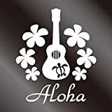 nc-smile ハワイアンステッカー ホヌ プルメリア Aloha ukulele ウクレレ H130mm ホワイト