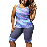 FARYSAYS Women's Color Block Sleeveless Top and Cropped Pants 2 Piece Tankini Swimsuit (S-5XL)