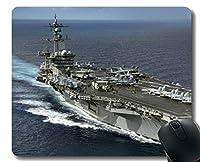 ステッチエッジ付きマウスパッド、航空母艦USS Carl Vinson Warship滑り止めラバーゲームマウスパッド