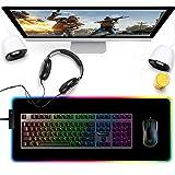 ゲーミングマウスパッド発光 特大RGB マウスパッド USB マウスパッド LED 14RGB9モード 7色の発光色 カラフル回転 滑り止め パッド 撥水加工 拡張マウスパッド 12ヶ月安心保証800*300*4mm ブラック 画像