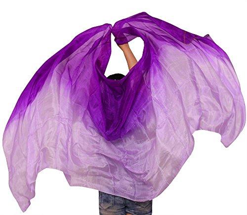 [해외]3 색 혼합 염색 중국 정통 실크 밸리 댄스 베일 (보라색) 190 * 90 cm/3 colors mixed dyed Chinese genuine silk belly dance veil (purple) 190 * 90 cm