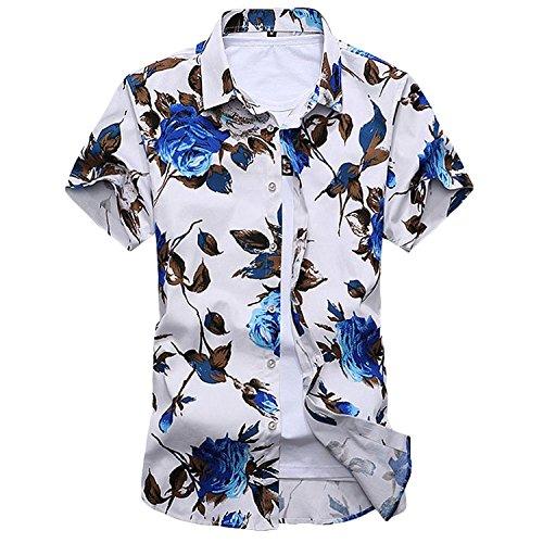 メンズシャツ カジュアルシャツ 春 夏 花柄シャツ 花柄Tシャツ 柄シャツ メンズTシャツ カットソ ー 半袖 ジャガード カジュアル アロハ 花柄 アロハシャツ リゾート ハワイ フラワー ボタニカル柄 ハワイビーチ系 半袖シャツ スリム きれいめ 大きいサイズ (5XL, ブルー)